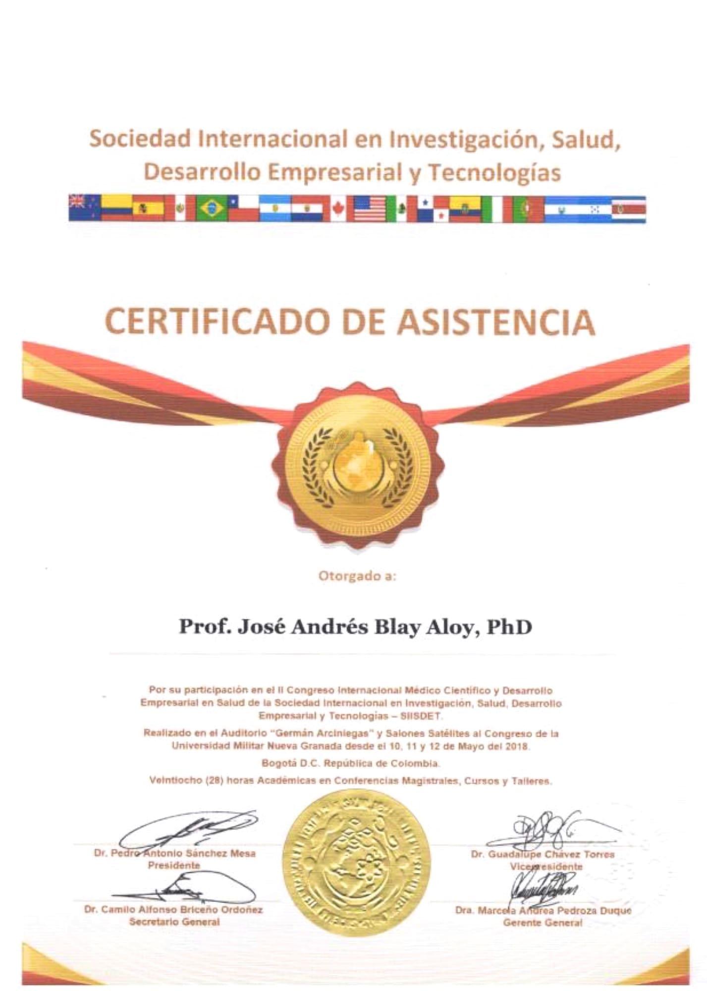 Certificado Asistencia II Congreso Internacional Médico Científico y Desarrollo Empresarial SIISDET Jose Andres Blay Aloy