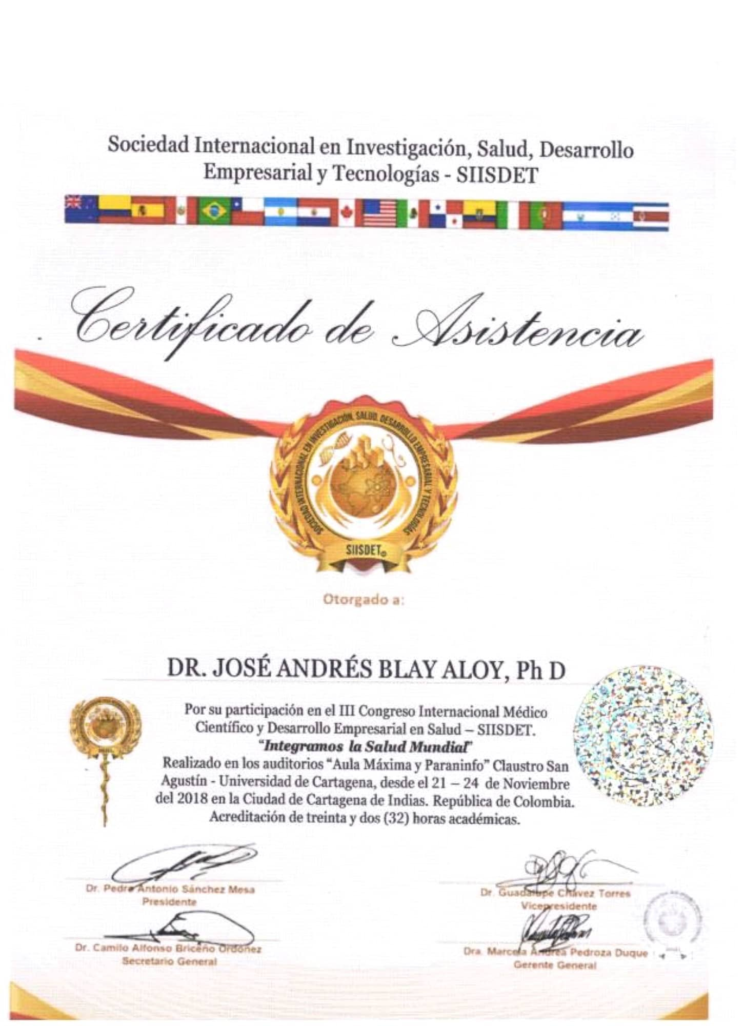 Certificado Asistencia III Congreso Internacional Médico Científico y Desarrollo Empresarial SIISDET