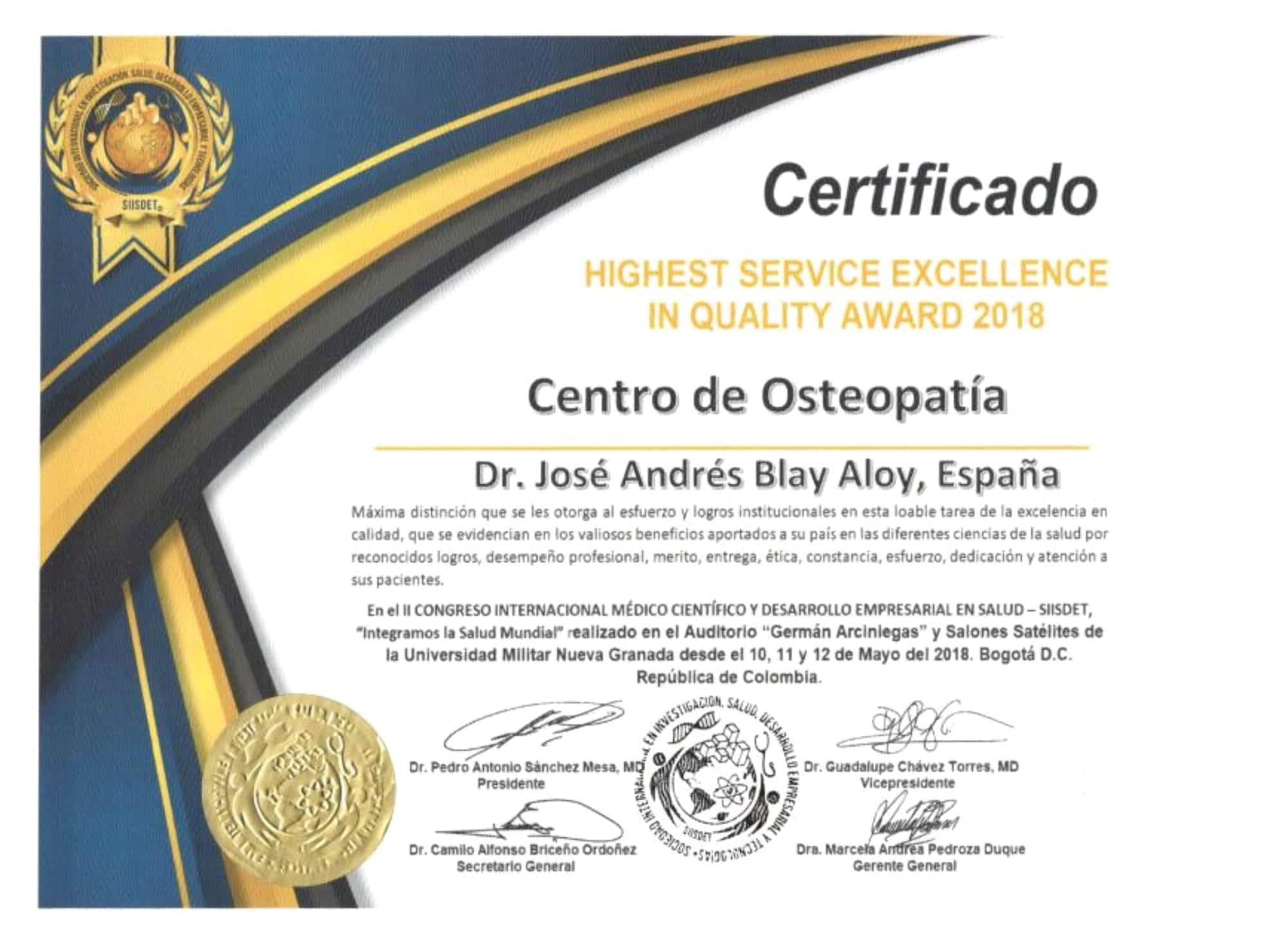 Certificado Highest Service Excellence Jose Andres Blay Aloy