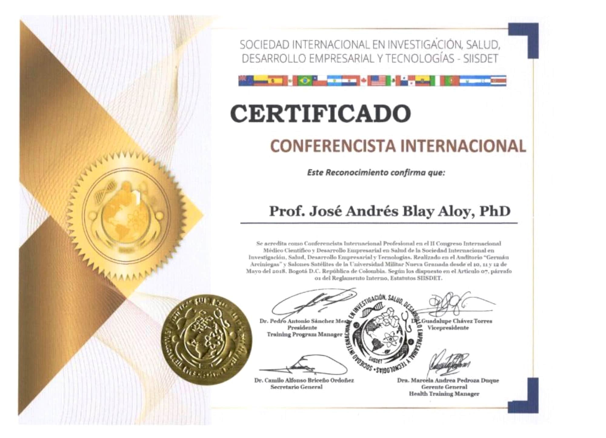 Conferencista Internacional Jose Andres Blay Aloy