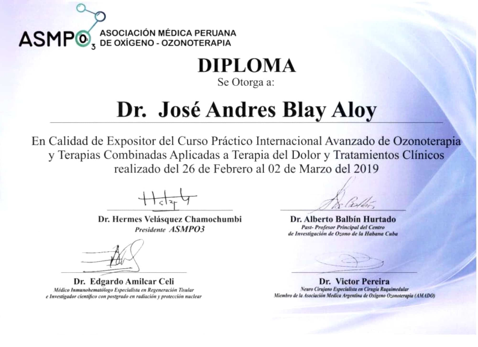 Diploma ASMPO Jose Andres Blay Aloy