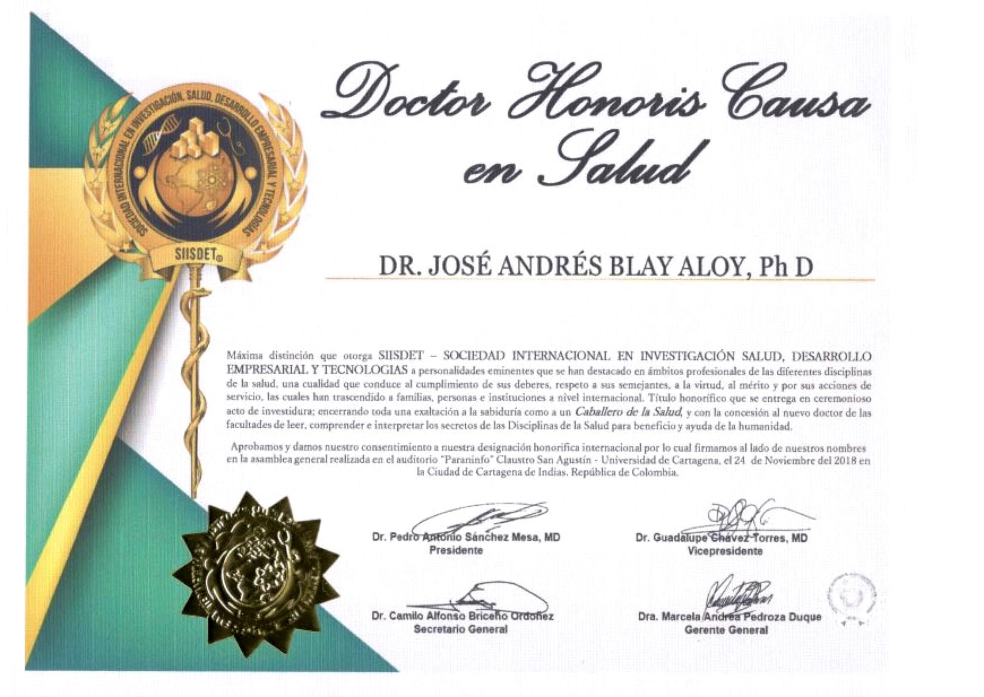 Doctor Honoris Causa en Salud Jose Andres Blay Aloy