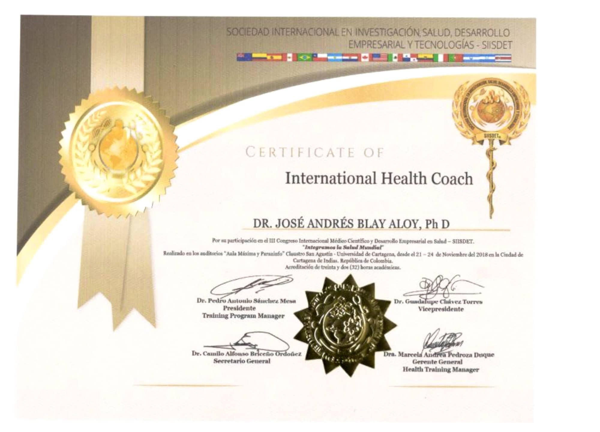 International Health Coach 2 Jose Andres Blay Aloy