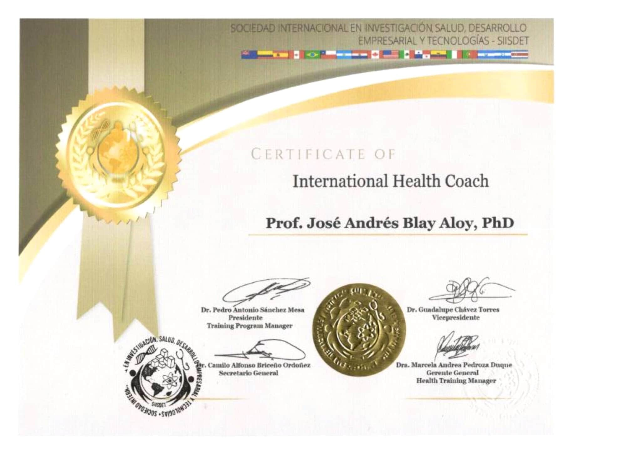 International Health Coach Jose Andres Blay Aloy