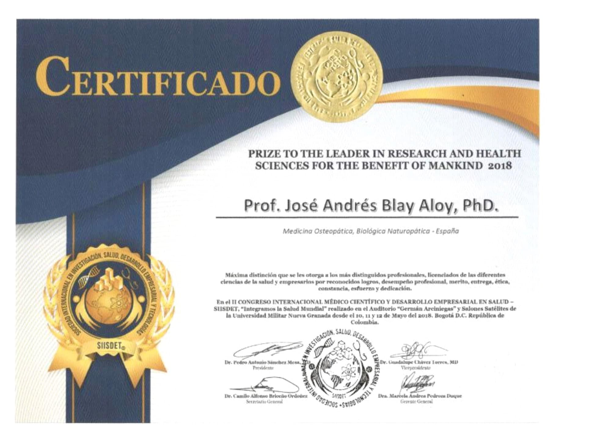 Prize To The Leader In Research And Health Sciences Jose Andres Blay Aloy